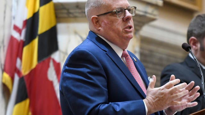 Maryland Gov. Larry Hogan delivers his annual State of the State address to a joint session of the legislature in Annapolis, Md., Wednesday, Jan. 31, 2018.