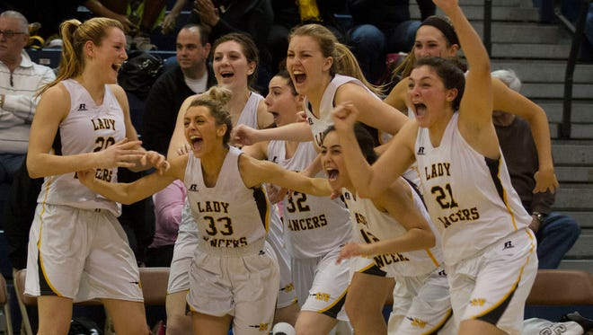 St John Vianney's bench empties as they rush out to celebrate their group championship. St John Vianney vs Immaculate Heart Academy in Girls NJSIAA Non-Public A Final in Toms River, NJ on March 12, 2016