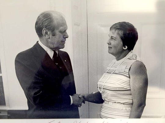 Anne Black had her photo taken with President Gerald Ford in the Oval Office as part of the president's campaign to secure her vote as an undeclared delegate to the 1976 Republican convention.