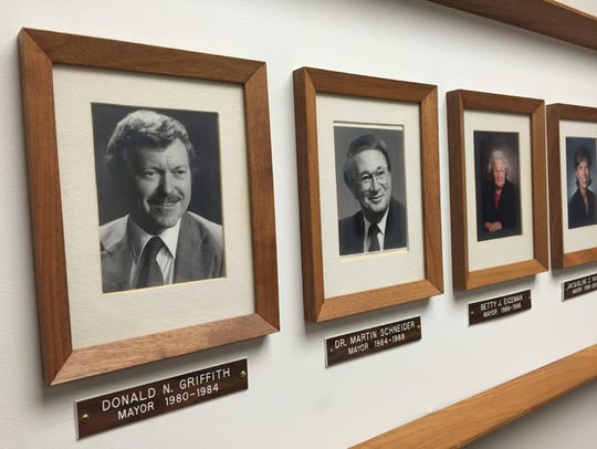 This photo of former Lebanon mayor Don Griffith hangs