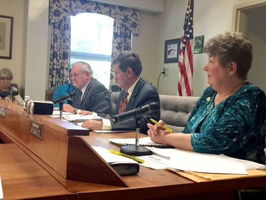 The Lebanon County Board of Commissioners, from right,