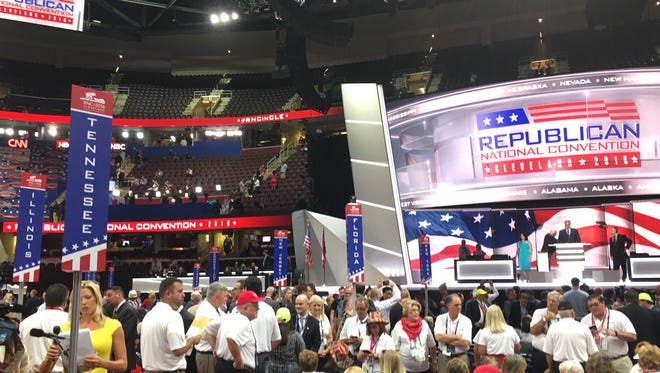 The Tennessee delegation at the floor of the Republican National Convention inside Quicken Loans Arena in Cleveland