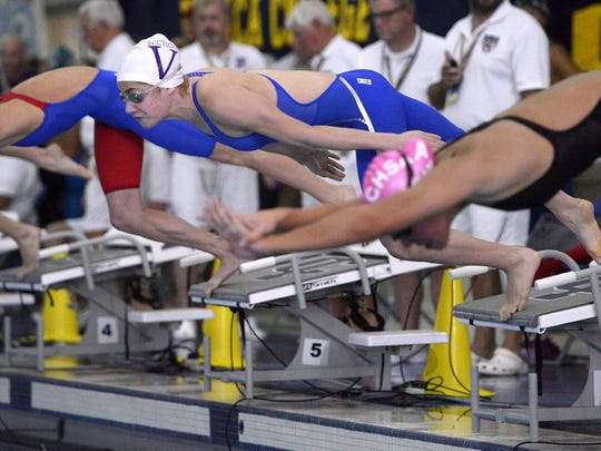 Penfield's Serafina Viola takes off from the starting block in a preliminary heat of the 50-yard freestyle.