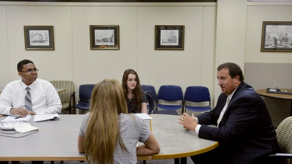 State Rep. Seth Grove, R-Dover Township, speaks with members of the York Daily Record's Teen Takeover staff on Sept. 3 in the newspaper's conference room.