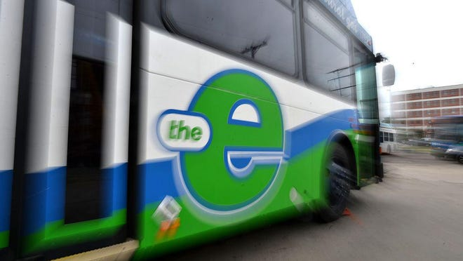 An Erie Metropolitan Transit Authority is shown at the EMTA garage in Erie.