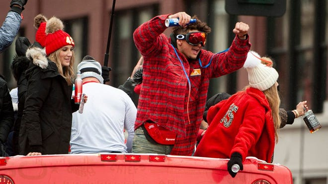 Patrick Mahomes celebrates during the Super Bowl LIV championship parade in February in downtown Kansas City.