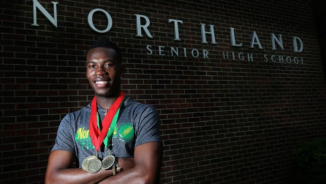 Senior Eugene Boahen was poised for a successful season with the Northland boys track and field team before spring sports were canceled because of the COVID-19 coronavirus pandemic. Boahen plans to attend Ohio Dominican.
