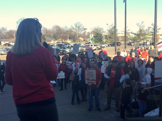 Henderson County Schools Superintendent Marganna Stanley addresses a group of educators protesting against Senate Bill 1.