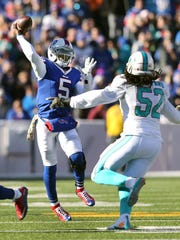Tyrod Taylor won a three-man quarterback competition over Matt Cassel and EJ Manuel.