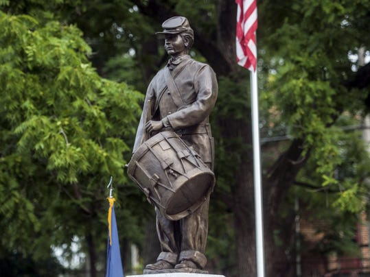 The unveiled statue, which now stands on Lefever Street in Unity Park, photographed on July 5.