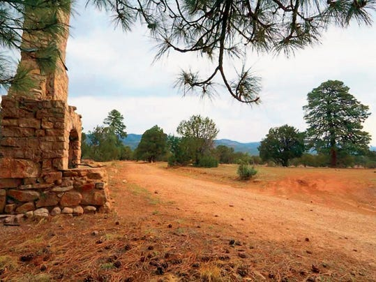 A chimney is all that remains of a camp for women functioning during the Great Depression near what is now the Baca Campground of the Lincoln National Forest between the settlement of Lincoln and village of Capitan.