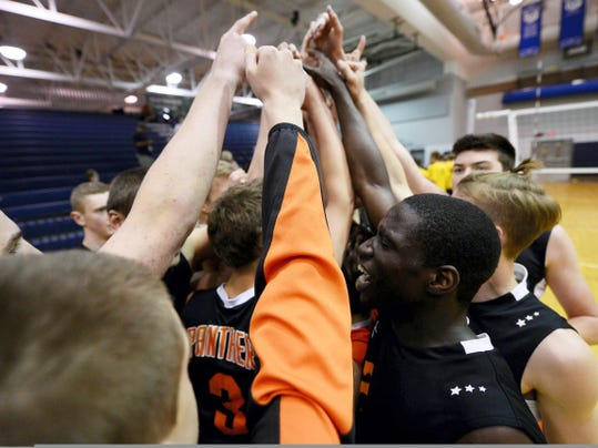 Central York celebrated after coming back from a two-game deficit to win the District 3 Class AAA boys' volleyball championship against Penn Manor on May 22 at Dallastown Area High School. The Panthers advanced to the PIAA quarterfinals, where they eventually lost to Seneca Valley on a neutral court.