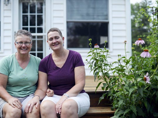 Julie Cunningham, left, and Sandy Henise are engaged to be married July 3.