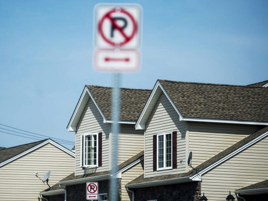 No parking signs are seen along Blossom Drive in Hanover on Thursday. Though a flyer placed around the neighborhoods says the signs are currently not being enforced the Borough of Hanover will enforce the no parking regulations when work on the streets is completed.