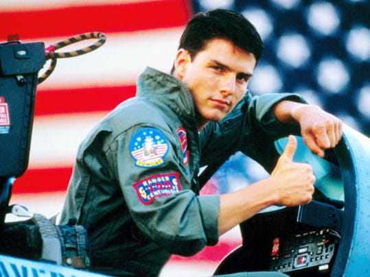 "Tom Cruise displays can-do confidence as a jet fighter pilot in training, determined to be a ""Top Gun"" and erase the blight on the family name."