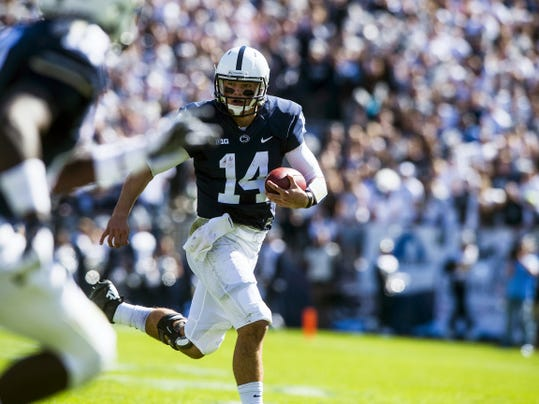 Penn State's Christian Hackenberg runs the ball during Saturday's game against Indiana at Beaver Stadium. Hackenberg rushed for two touchdowns and threw for two more to help the Lions earn a 29-7 victory.