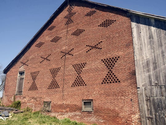 The south side of a brick-end barn west of Greencastle along Pa. 16 as pictured in April 2015.
