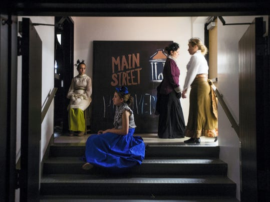 Cast members wait back stage during dress rehearsal for 'Sweeney Todd' on Wednesday at Littlestown Senior High School.