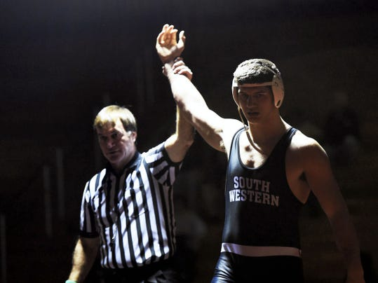 South Western's Seth Janney won the 220-pound sophomore national title last weekend at the National High School Coaches Association championships.