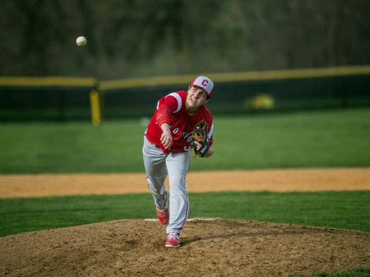New Oxford's Dominic Grimes pitches during Wednesday's YAIAA Division I game against South Western. Grimes struck out five batters and walked just one but the Colonials dropped a 4-2 decision to the Mustangs.