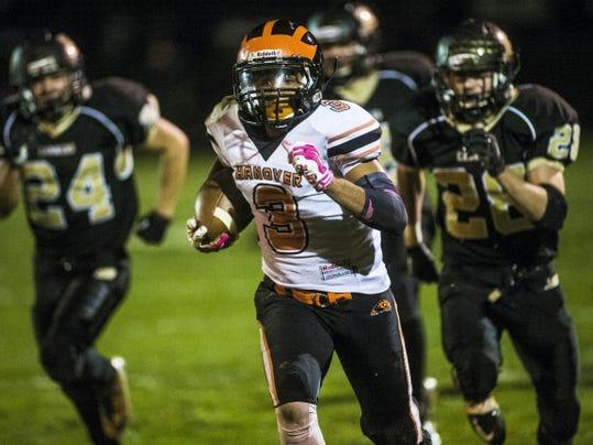 Hanover's Resean Williams runs for a touchdown against Biglerville on Friday at Biglerville High School. Biglerville won, 42-21.