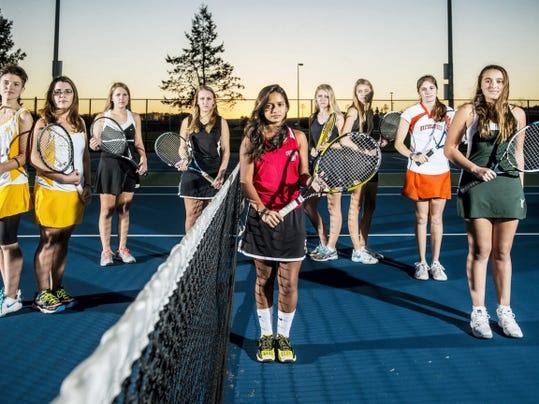 GameTimePA.com's girls' tennis first-team all-stars are, from left: Kennard-Dale's Evan Boone, Kennard-Dale's Alyssa Miller, Biglerville's Jenna Glass, South Western's Rachel Fabrick, Susquehannock's Usha Baublitz, Dallastown's Christie Friedrich, Dallastown's Angela Friedrich, Northeastern's Laura Zielinski and York Catholic's Sarah Koury.