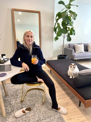 Goop fashion director Ali Pew poses in Los Angeles. After weeks in quarantine, a pronounced fashion trend emerged in loungewear: It's comfy, everyday clothing with a bit more refinement.