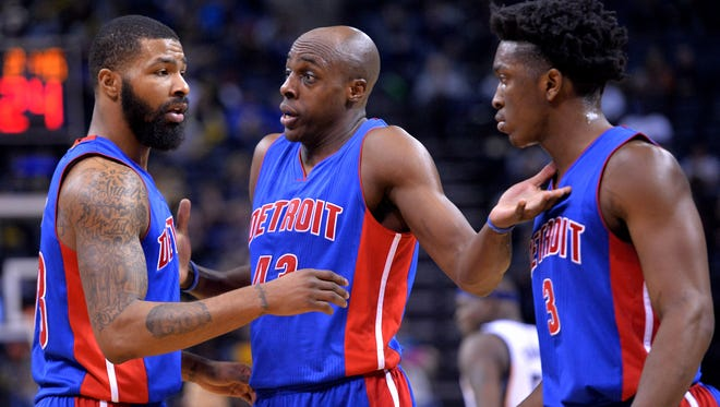 (From left) Pistons Marcus Morris, Anthony Tolliver, and Stanley Johnson react in the second half of Thursday's loss in Memphis, Tenn.