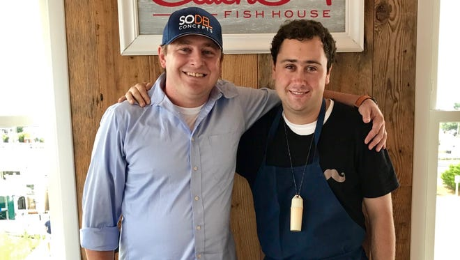 As part of the POW&R (Productive Opportunities for Work and Recreation) program, Mark Kleinstuber (right) works at Catch 54 under the supervision of Ronnie Burkle, director of operations for SoDel Concepts.