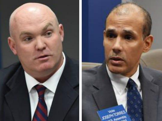 Republican state Assemblyman Kieran Lalor, left, is