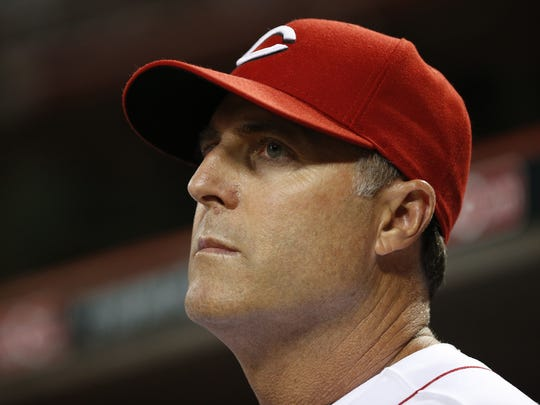 Cincinnati Reds manager Bryan Price (38) keeps an eye on his team.