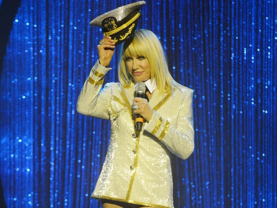 """Suzanne Somers starring in """"Suzanne Sizzles,"""" a multi-media act with a four-piece band at Westgate Las Vegas Resort & Casino."""