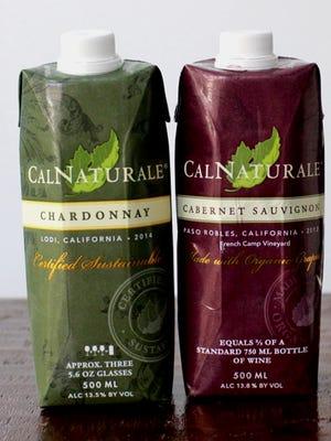 Chardonnay and cabernet sauvignon wines in Tetra Pak cartons.