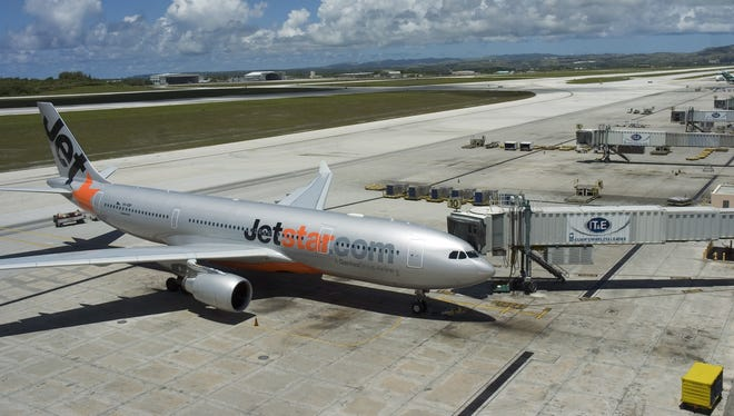 A Jetstar plane is parked at A.B. Won Pat Guam International Airport in June 2009.