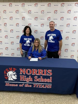 Carli Kohout will be a Bobcat just like her father Scott. Also in the photo is mother Lisa.
