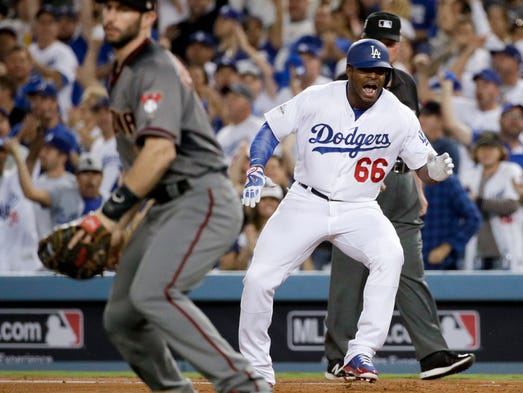 NLDS Game 2: Diamondbacks at Dodgers - Dodgers' Yasiel
