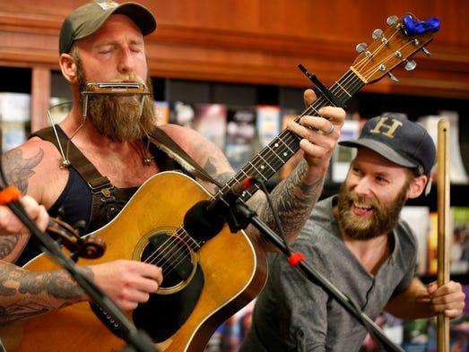 "Gabriel Kelley on guitar and Casey ""Pickle"" McBride"