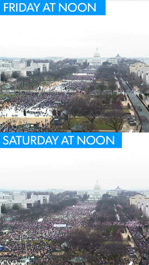 The National Mall in Washington, D.C. on Friday during Donald Trump's inauguration and on Saturday during the  Women's March on Washington.