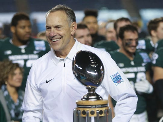 Michigan State coach Mark Dantonio is all smiles after MSU's 42-17 win over Washington State in the San Diego County Credit Union Holiday Bowl on Thursday, Dec. 28, 2017, in San Diego.