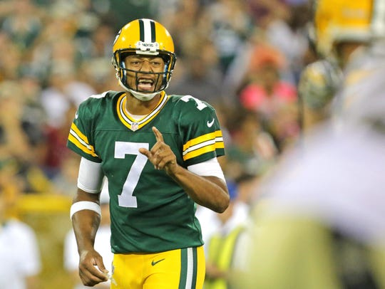Brett Hundley of the Green Bay Packers shouts instructions