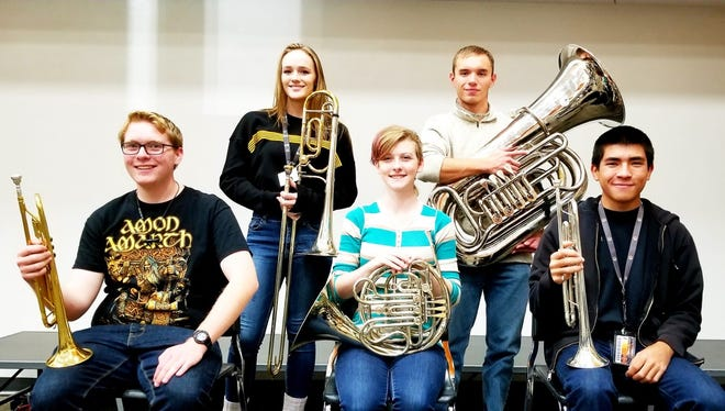 Sunday's Best Brass of Christmas concert in Aztec will feature (clockwise from left) Aztec High students Aedan Wells, Charlotte Martin, Ferran Mendieta, Adrian Quintana and Alexis Acrey.