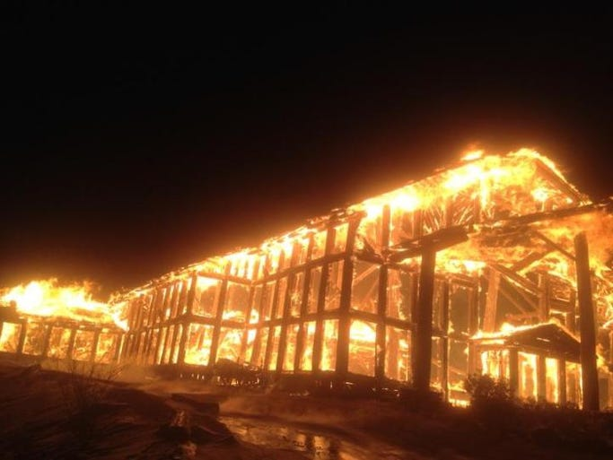 The Ebbs Chapel Fire Department provided this photo of the fire that destroyed a lodge at Wolf Ridge Ski Resort.