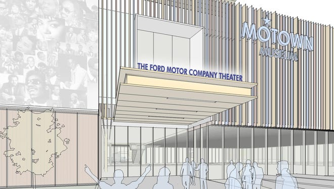 A rendering of the Ford Motor Company Theater exterior at the Motown Museum.