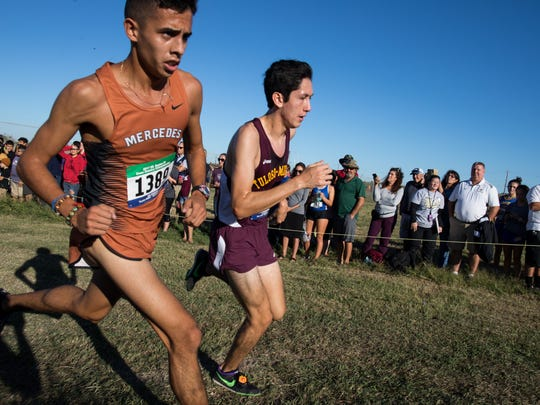 Tuloso-MidwayÕs Ace Castillo during the the boys 5A race ay the Region IV Cross country Meet in the Dugan Track Stadium on Oct. 23, 2017.