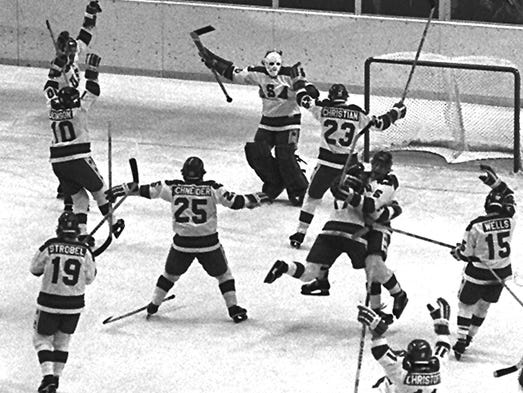 The U.S. Olympic hockey team celebrates after their 4-3 upset victory over the heavily favored Soviet team at the Winter Olympics in Lake Placid on Feb. 22, 1980.