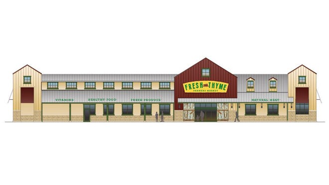 Rendering of Fresh Thyme Farm Markets, a new specialty grocery chain emphasizing healthy and organic foods that will open two Cincinnati-area stores in fall 2014.