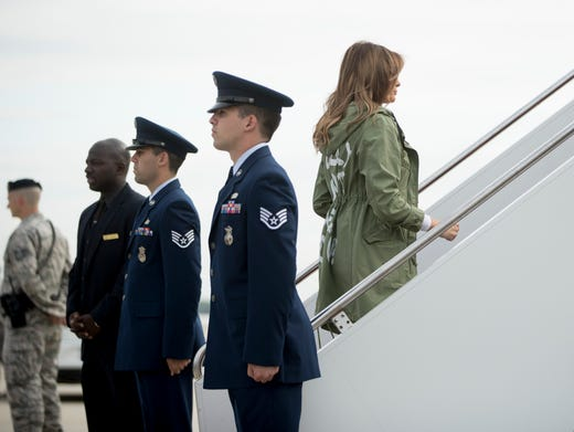 The writing on the jacket was first noticed as Melania
