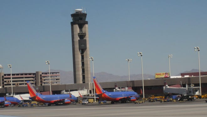 Southwest Airlines planes sit at the gate at McCarran International Airport in Las Vegas.