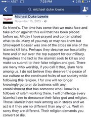 Facebook post by La. house District 8 candidate Duke Lowrie