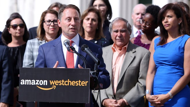 Westchester County Executive Rob Astorino announces that the county wants to make a pitch for Amazon's second headquarters Sept. 26, 2017 at the Westcheter County Center in White Plains.